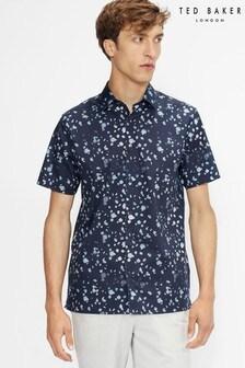 Ted Baker Thouhts Ss Raindrop Print Shirt