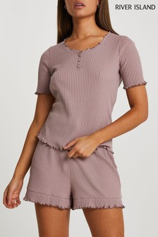 River Island Beige Pointelle Pyjama Set