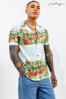 Hype. Mens White Resort Coastline Shirt
