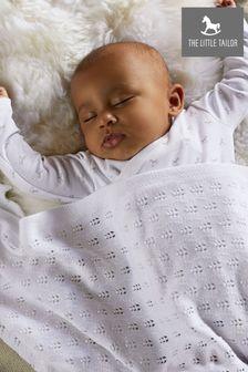 The Little Tailor White Pointelle Blanket