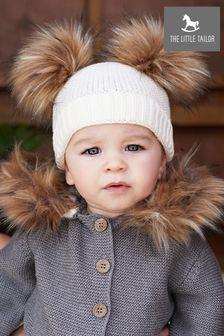 כובע עם פונפונים של The Little Tailor בצבע שמנת