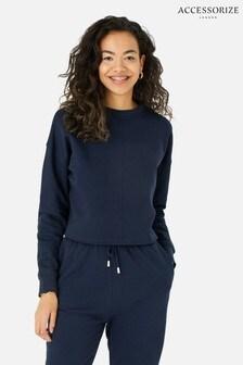 Accessorize Lounge Crop Sweatshirt aus Bio-Baumwolle, Blau