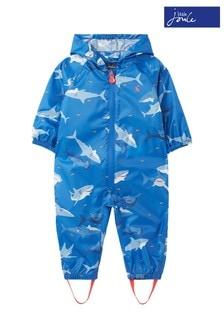 Joules Blue Shark Print Puddlesuit
