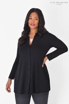חולצה שחורה של LIVE למידות גדולות מבד ג'רזי בר קיימא