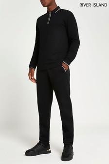 River Island Black Slim Jacquard Placket Polo Shirt