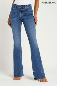 River Island Denim Medium Amelie Flare Mid Rise Corgi Jeans