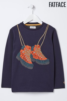 T-shirt FatFace Boots bleu à motif graphique