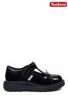 ToeZone Black Patent T-Bar Unicorn Novelty School Shoes