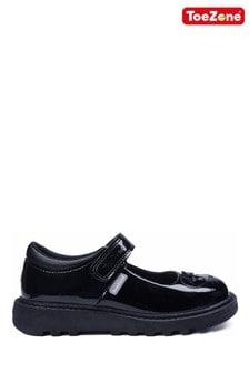 ToeZone Black Patent Single Strap Novelty Mouse School Shoes