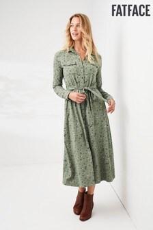 Zelena srajčna obleka iz džersija z drobnim motivom FatFace Sarah