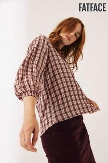 חולצת משבצות בצבע ורוד לנשים של FatFace