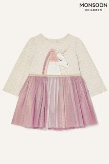 Розовое детское платье с единорогом Monsoon