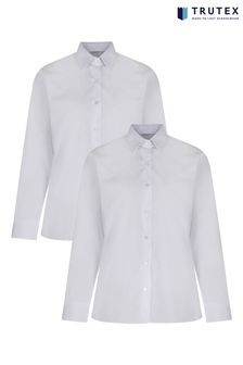 Trutex White Long Sleeve Non Iron Blouse 2 Pack