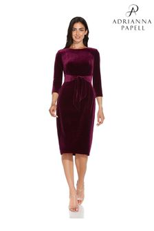 Adrianna Papell Purple Velvet Tie Front Dress