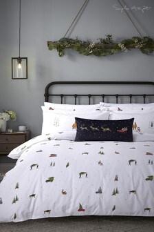 Sophie Allport White Home For Christmas Duvet Cover And Pillowcase Set