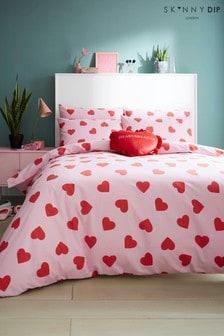 Skinnydip Pink Heart Duvet Cover and Pillowcase Set