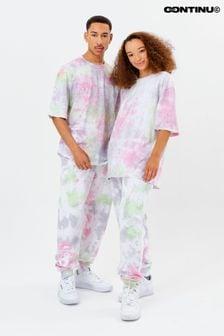 Розовые спортивные брюки в стиле унисекс с принтом тай-дай Continu8