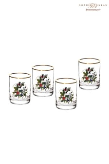 Set of 4 Portmeirion Holly & Ivy Old Fashioned Glasses