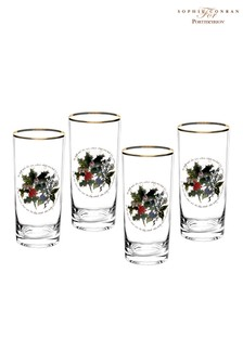Set of 4 Portmeirion Holly & Ivy Hi Ball Glasses