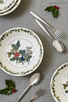 Set of 6 Portmeirion White Holly & Ivy 8' Inch Pasta Bowls