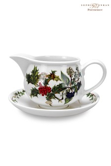 Portmeirion Holly And Ivy Gravy Boat And Stand