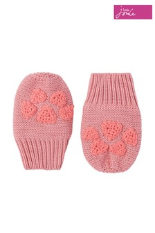 Joules Pink Paws Organically Grown Cotton Pawprint Knitted Mittens