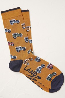 Fat Face Yellow Land Rover Socks
