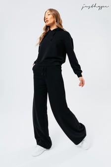 Hype Women's Black Long Sleeved T-Shirt & Flared Joggers Sweat Set