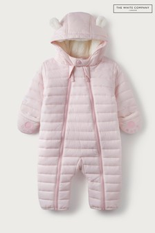 The White Company Baby Pink Recycled Quilted Pramsuit