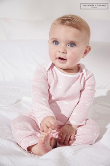 The White Company Pink Cloud Print Sleepsuit