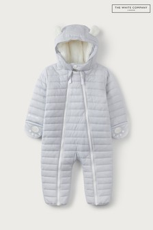 The White Company Baby Grey Recycled Quilted Pramsuit