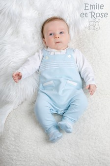 Emile et Rose 2-In-1 Striped Dungarees And Wrist Rattle