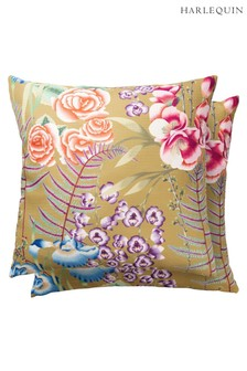 Harlequin Gold Amaryllis Outdoor Cushion