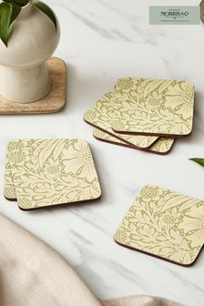 Set of 6 Morris & Co. by Pimpernel Marigold Green Coasters