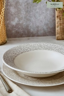 Set of 4 Morris & Co. by Spode Grey Willow Bough Bistro 10.5' Inch Pasta Bowls