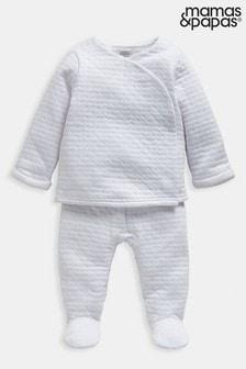Mamas & Papas White Two-Piece Textured Jersey Set
