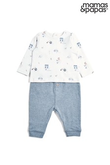 Mamas & Papas Blue Printed Top and Legging Set