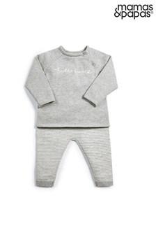 Mamas & Papas Grey Knitted Hello World 2 Piece Set