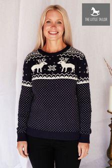 The Little Tailor Ladies Blue Christmas Reindeer Fairisle Jumper