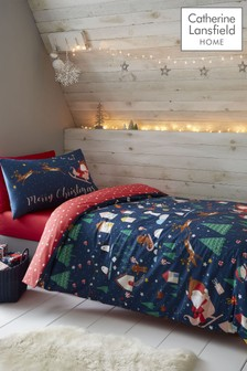 Catherine Lansfield Blue Santa's Christmas Wonderland Duvet Cover and Pillowcase Set