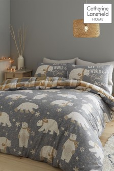 Catherine Lansfield Grey Brushed Cotton Polar Bear Duvet Cover and Pillowcase Set