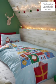 Catherine Lansfield Blue Countdown To Christmas Duvet Cover and Pillowcase Set