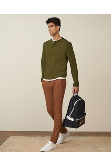 T-shirt Tommy Hilfiger homme classique avec col tunisien vert