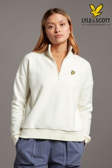 Lyle & Scott White Soft Touch Brushed 1/4 Zip Sweat Top