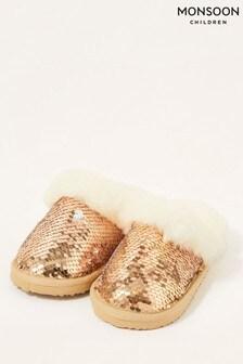Monsoon Gold Sequin Fluffy Slippers