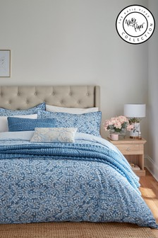 Katie Piper Blue Be Still Foliage Duvet Cover and Pillowcase Set