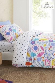 Ananas Elefant albastru Blomme Floral Duvet Cover și pillowcase Set