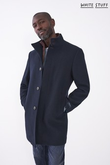 White Stuff Mens Blue Lincoln Wool Funnel Coat (A66633)   $225