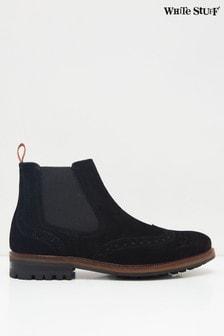 White Stuff Mens Black Arlo Brogue Chelsea Boots