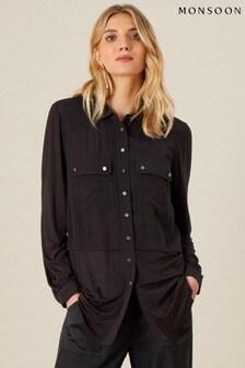 חולצה בגזרה ארוכה מתערות ג'רזי ארוגה בצבע שחור של Monsoon